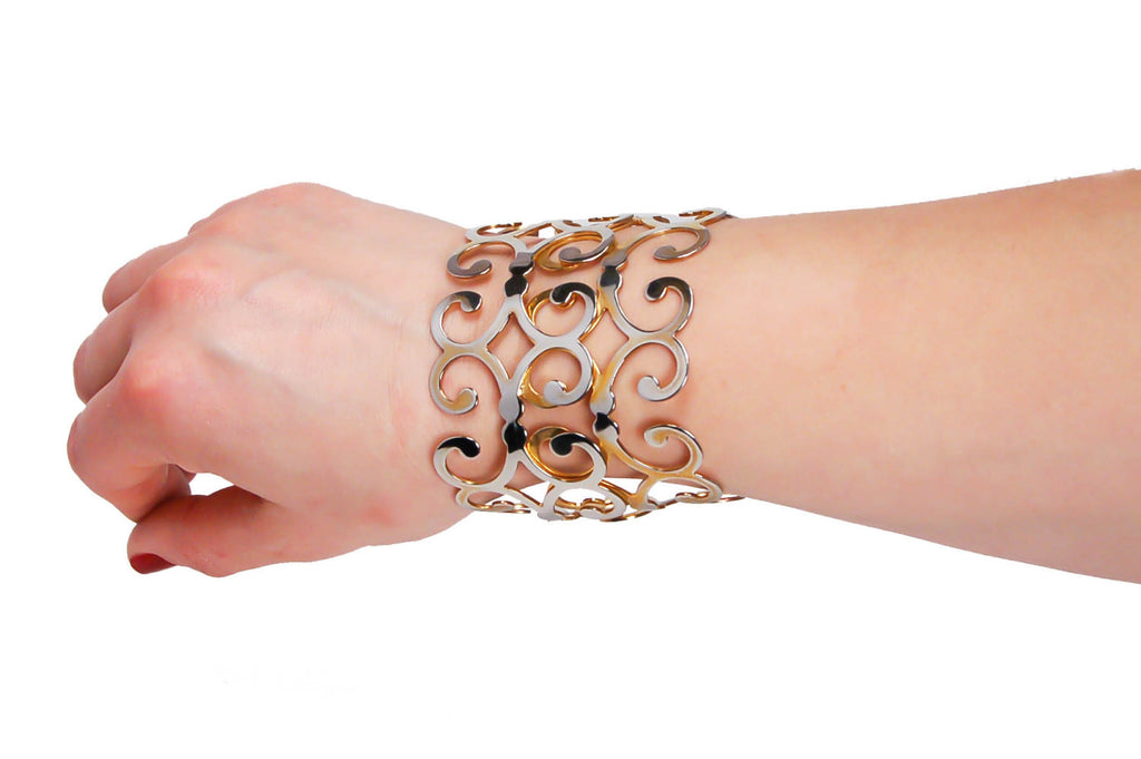 Gold Scroll Cuff Bracelet - Vintage Meet Modern  - 5