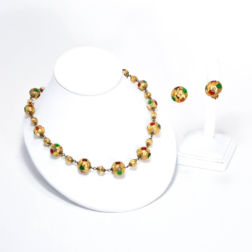 1940's Venetian Glass Bead Necklace and Earrings Set Golden Jewel Tones, Jewelry Sets - Vintage Meet Modern