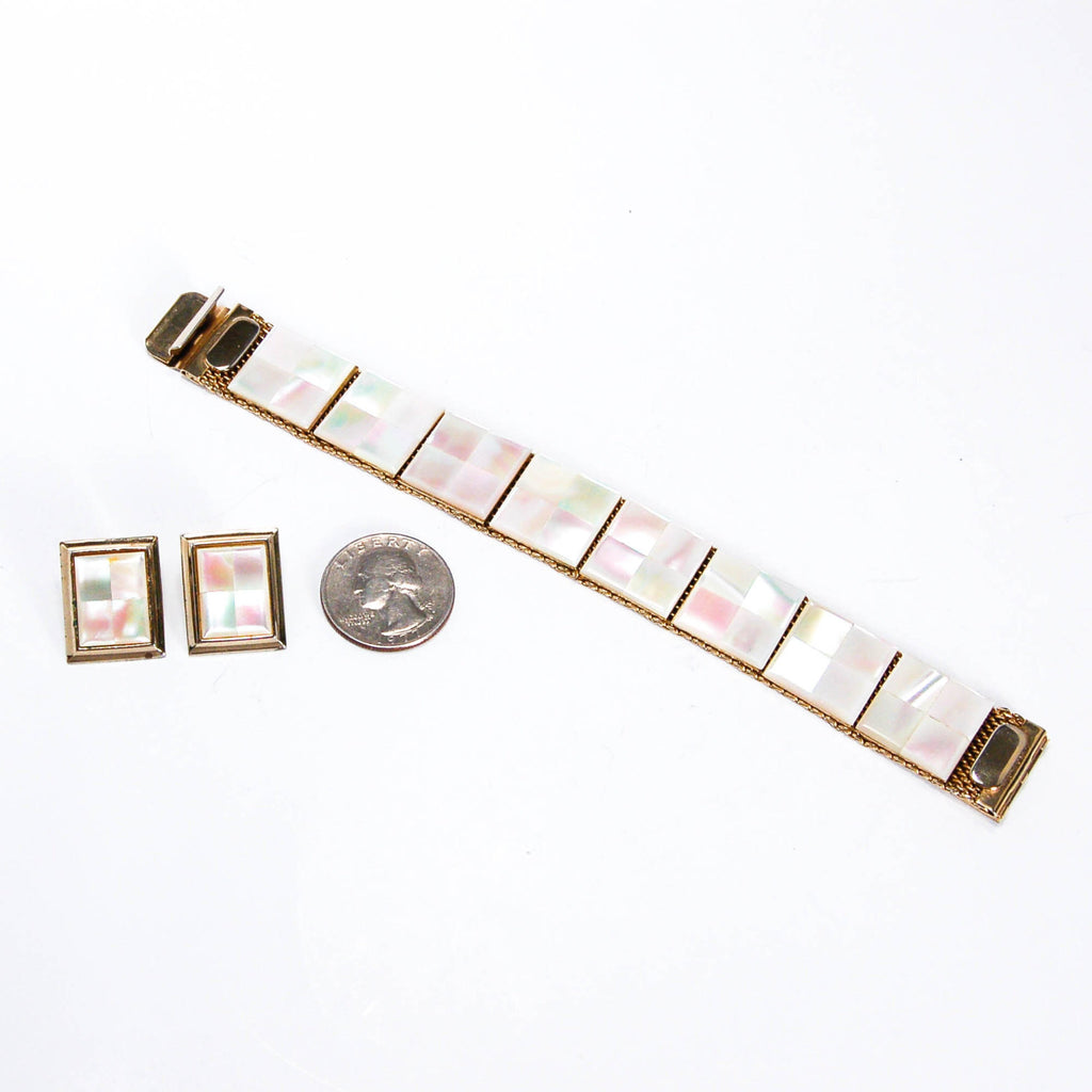 1960's Mother of Pearl Earrings and Bracelet Set, Jewelry Sets - Vintage Meet Modern