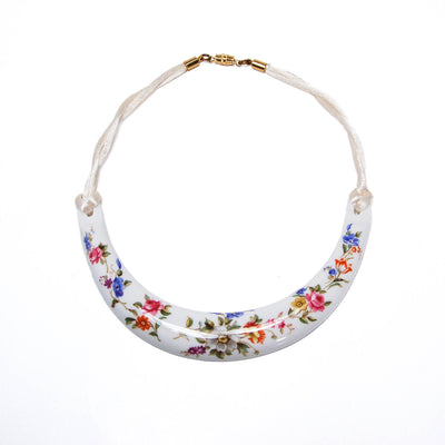 Royal Worcester Floral Fine Bone China Necklace by Kenneth Jay Lane by KJL - Vintage Meet Modern - Chicago, Illinois