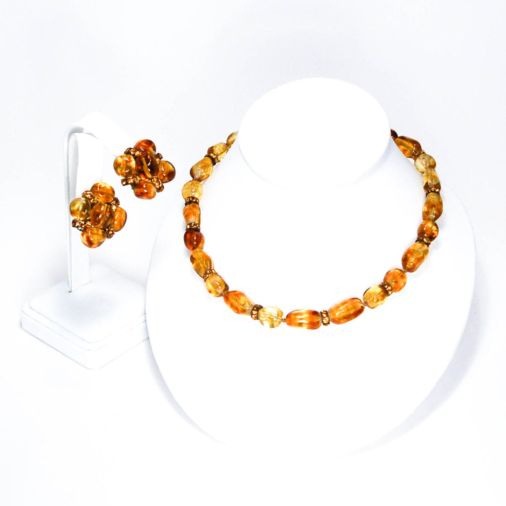 1950's Amber Art Glass Earrings and Necklace Set by Vogue Jewelry, Jewelry Sets - Vintage Meet Modern