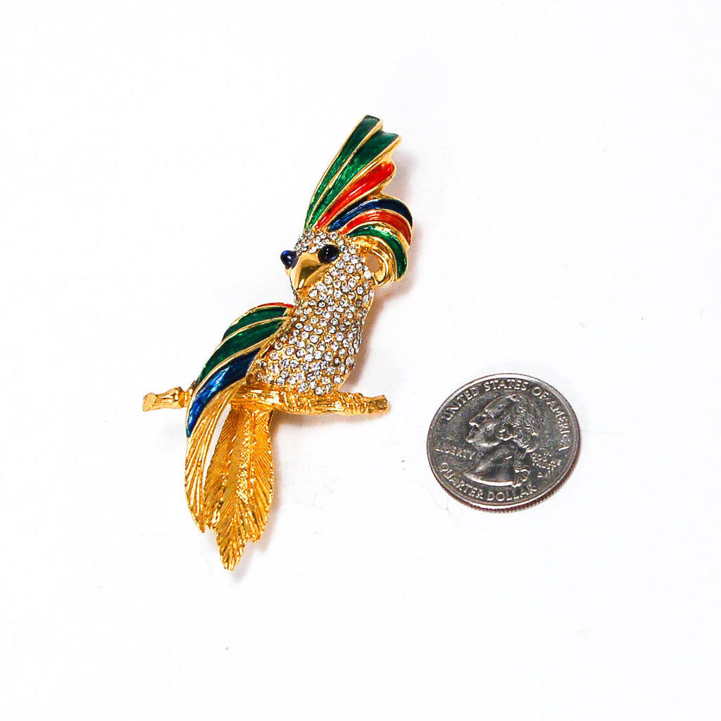 1980's Colorful Rhinestone Cockatoo Brooch by Carven of Paris, Brooches - Vintage Meet Modern