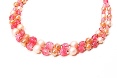 Pink White Pearl Double Strand Glass Bead Necklace Signed Japan Mid Century Modern Glamour by Japan - Vintage Meet Modern - Chicago, Illinois