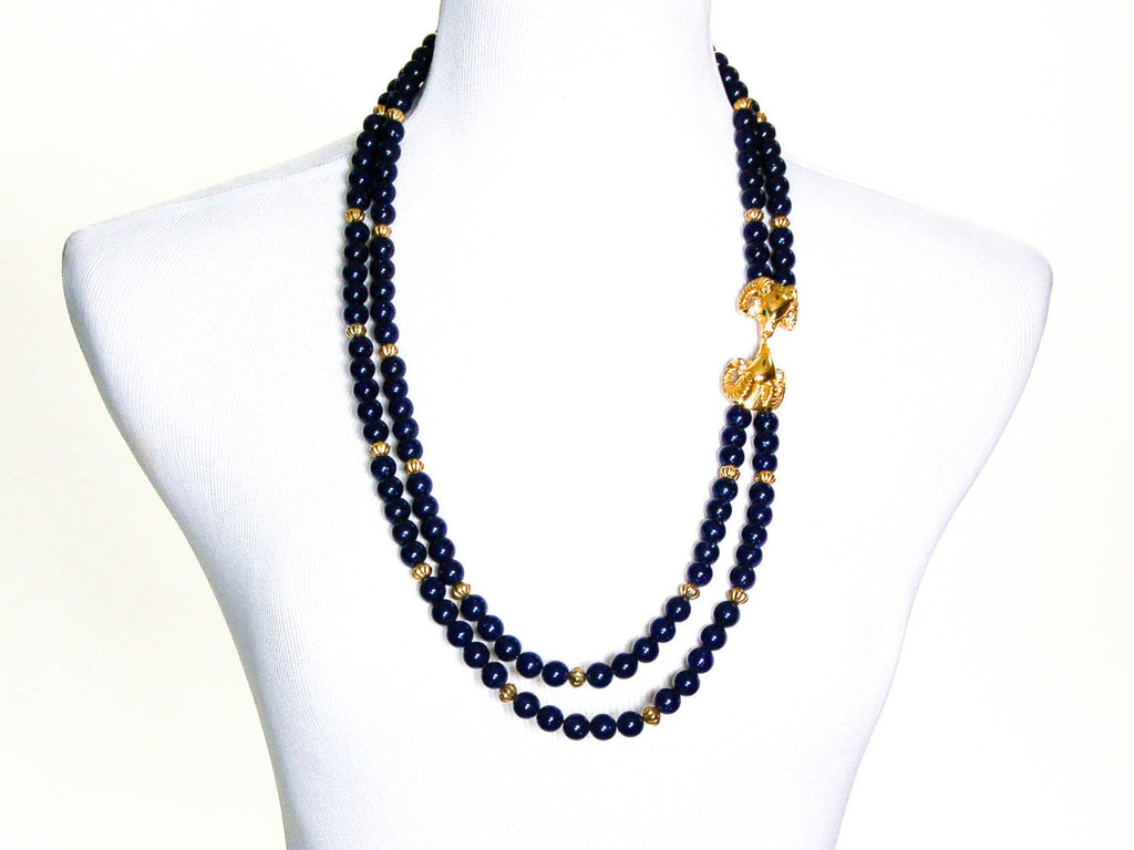 Lapis Colored Beaded Necklace by KJL for Avon, Necklaces - Vintage Meet Modern