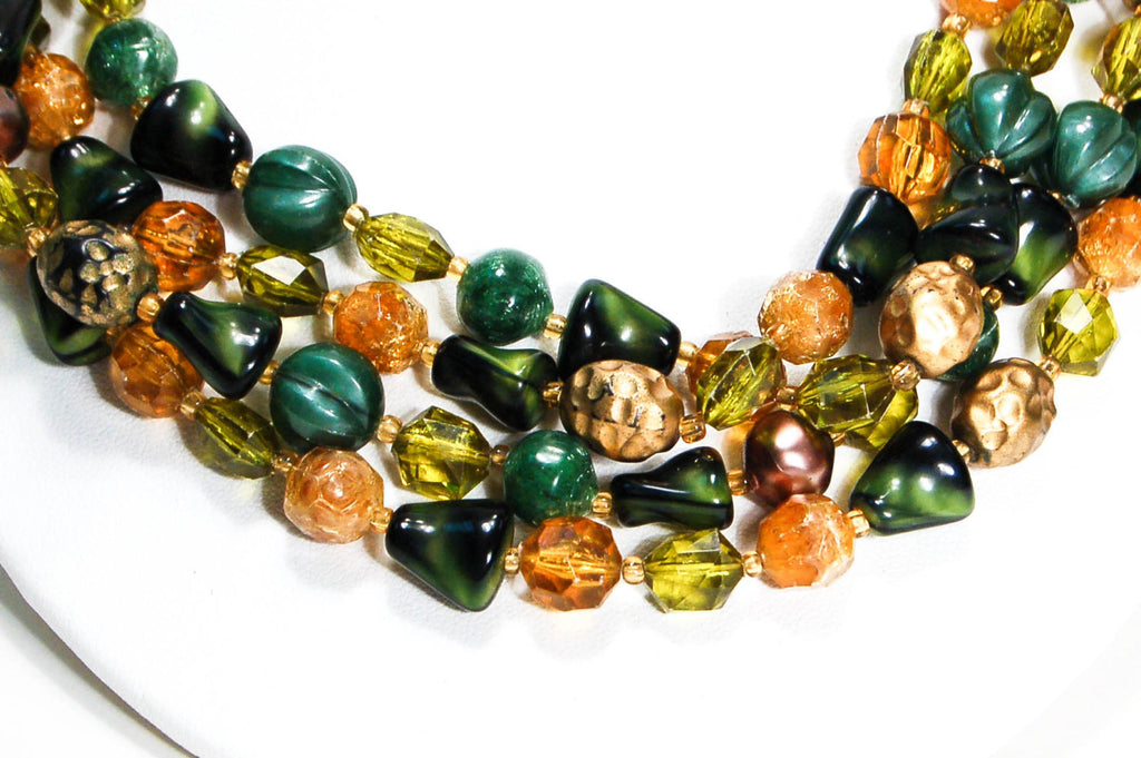 1940's Green and Gold Torsade Bead Necklace, Necklaces - Vintage Meet Modern