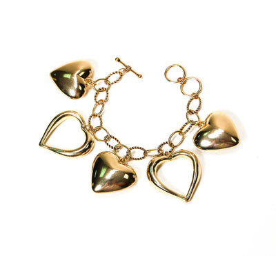 Lots of Love Heart Charm Bracelet by Unsigned Beauty - Vintage Meet Modern - Chicago, Illinois