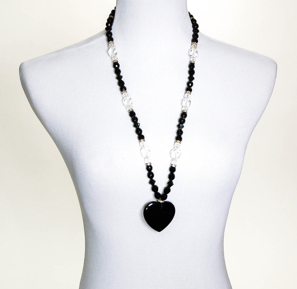 1980's Clear and Black Jet Crystal Statement Necklace, Necklaces - Vintage Meet Modern