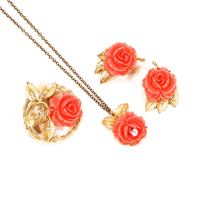 Gold Tone Necklace Earrings and Brooch Set with Coral Roses by BSK, Jewelry Sets - Vintage Meet Modern