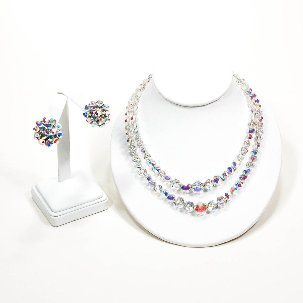 1950's Aurora Borealis Iridescent Faceted Crystal Necklace and Earring Set, Jewelry Sets - Vintage Meet Modern