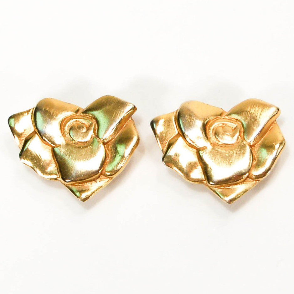 1980's Gold Tone Rose Earrings, Earrings - Vintage Meet Modern