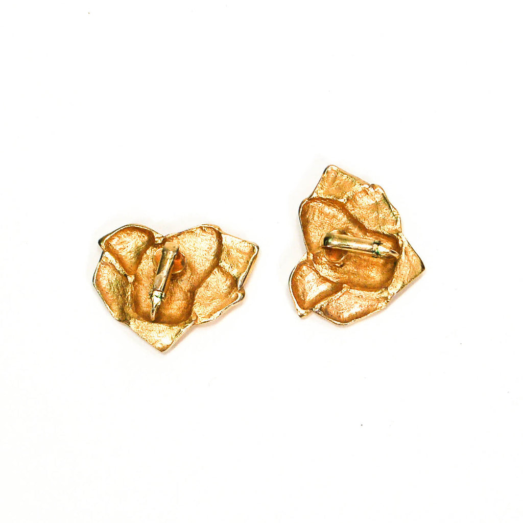 1980's Gold Tone Rose Earrings - Vintage Meet Modern  - 5