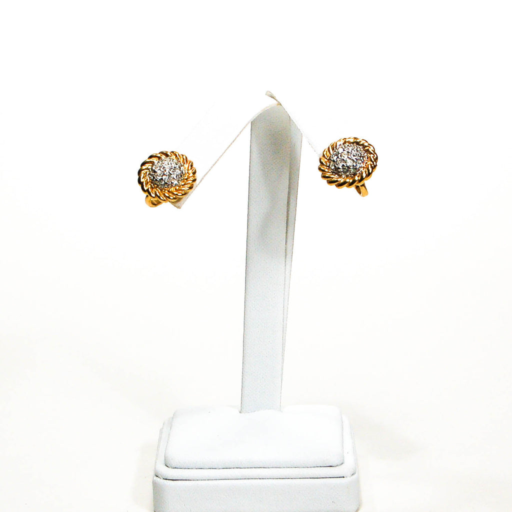 1980's Gold Tone Cable Rhinestone Clip Earrings, Earrings - Vintage Meet Modern