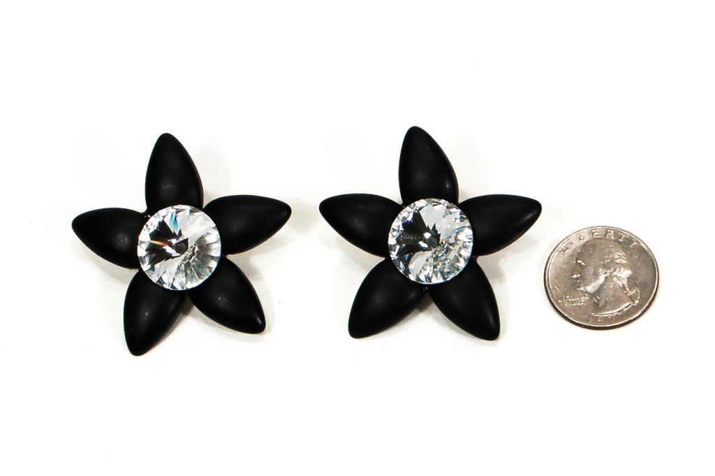 1980's Black Star Rhinestone Earrings by Wendy Gell, Earrings - Vintage Meet Modern