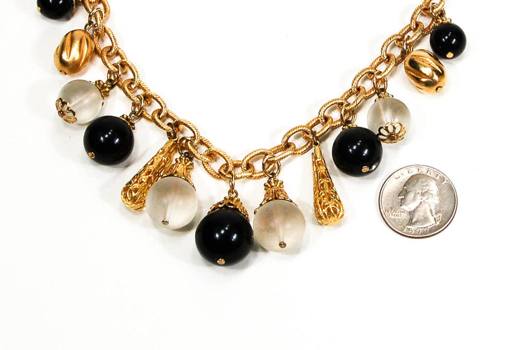 1970's Gold and Black Statement Bubble Necklace, Necklaces - Vintage Meet Modern