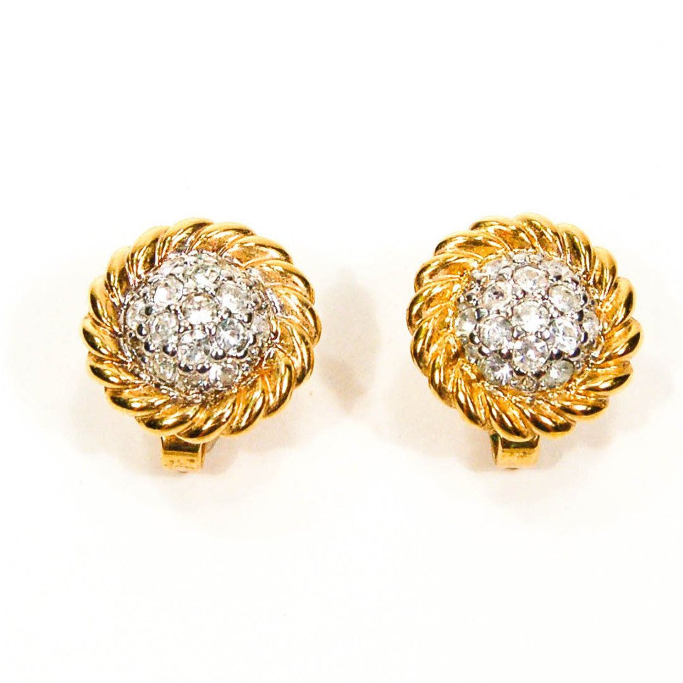 1980's Gold Tone Cable Rhinestone Clip Earrings - Vintage Meet Modern  - 2