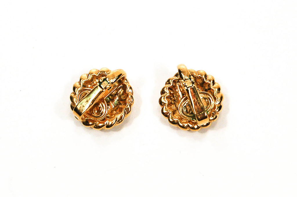 1980's Gold Tone Cable Rhinestone Clip Earrings - Vintage Meet Modern  - 5
