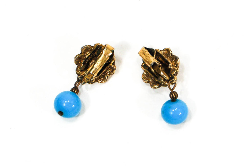 1950's Gold Tone and Turquoise Dangling Earrings, Earrings - Vintage Meet Modern