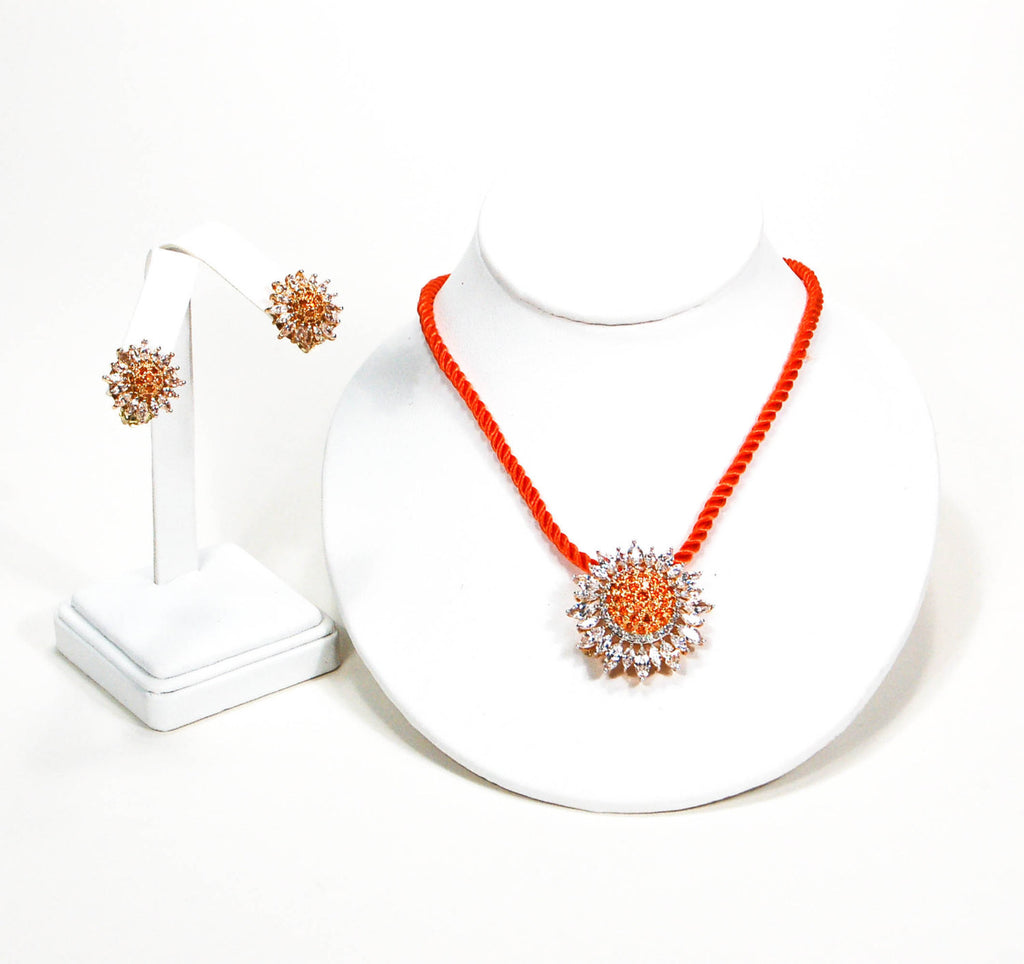 Fiery Orange and CZ Sunburst Brooch Pendant and Earring Set by Real Collectibles by Adrienne - Vintage Meet Modern  - 5