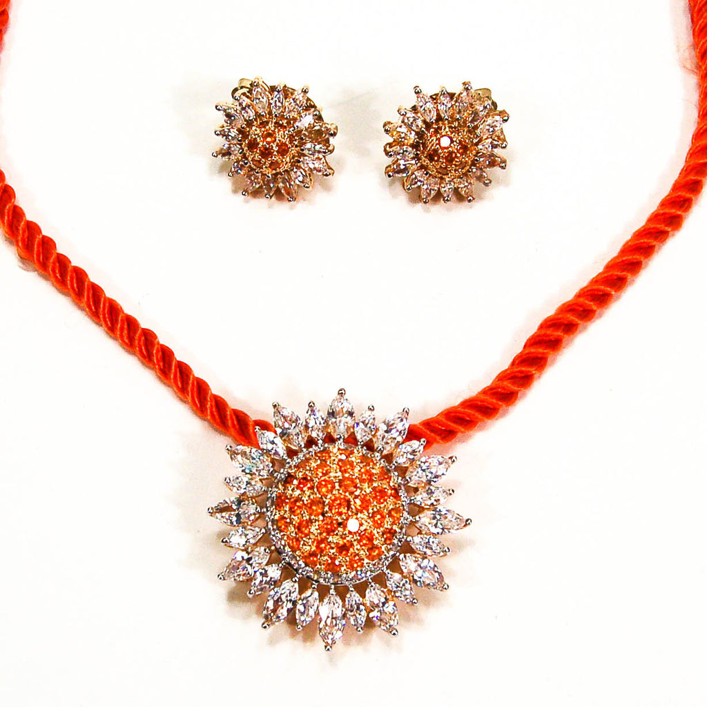 Fiery Orange and CZ Sunburst Brooch Pendant and Earring Set by Real Collectibles by Adrienne - Vintage Meet Modern  - 2