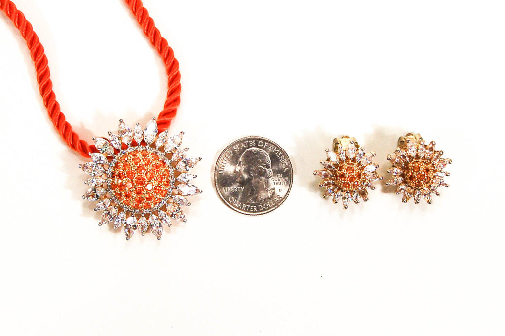 Fiery Orange and CZ Sunburst Brooch Pendant and Earring Set by Real Collectibles by Adrienne - Vintage Meet Modern  - 4