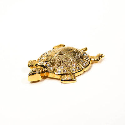 Gold Tone Turtle Brooch with Rhinestones by 1980s - Vintage Meet Modern - Chicago, Illinois