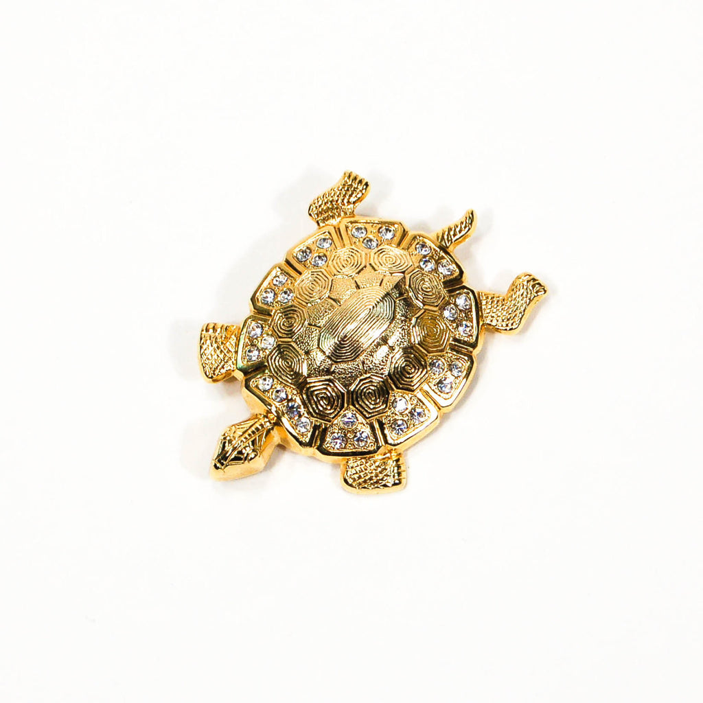 Gold Tone Turtle Brooch with Rhinestones, Brooches - Vintage Meet Modern