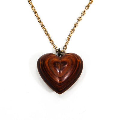 1970's Polished Zebra Wood Heart Necklace by 1970's - Vintage Meet Modern - Chicago, Illinois