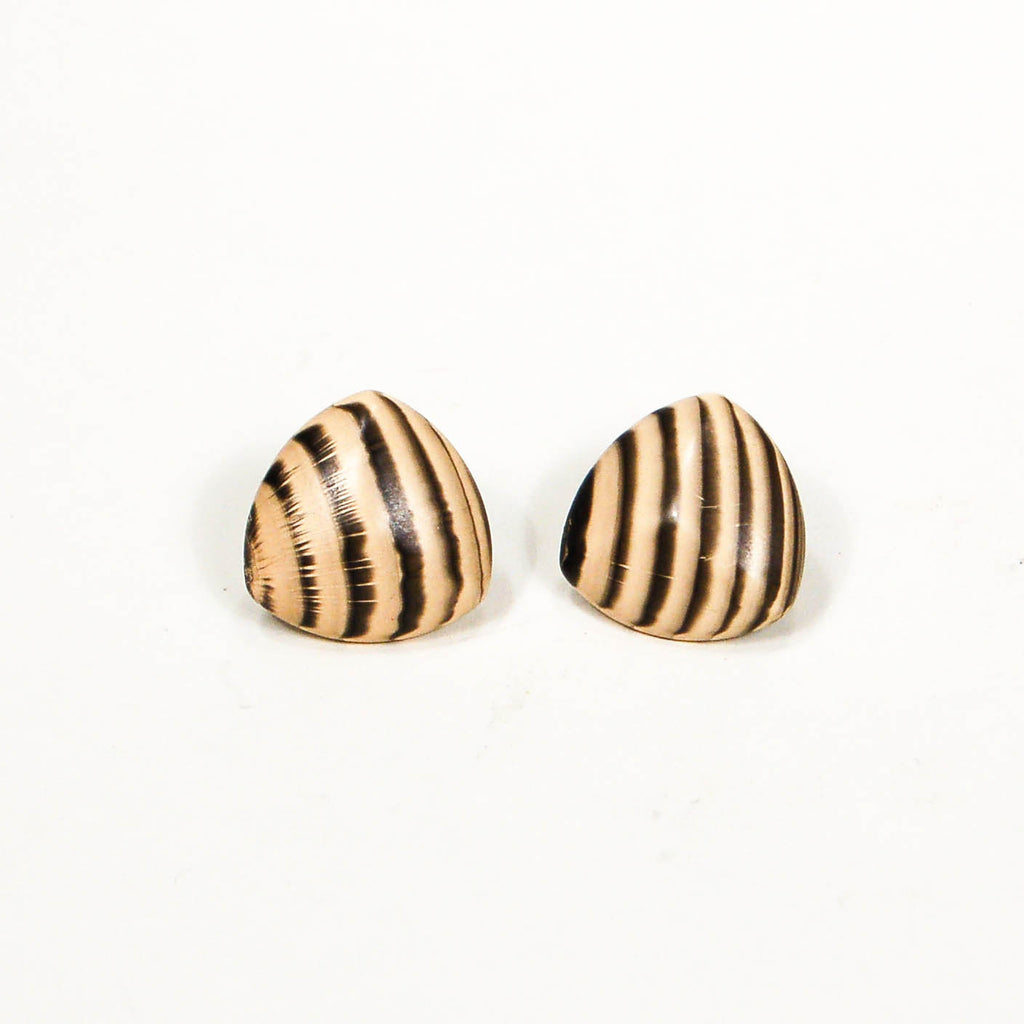 1970's Triangular Zebra Wood Earrings, Earrings - Vintage Meet Modern
