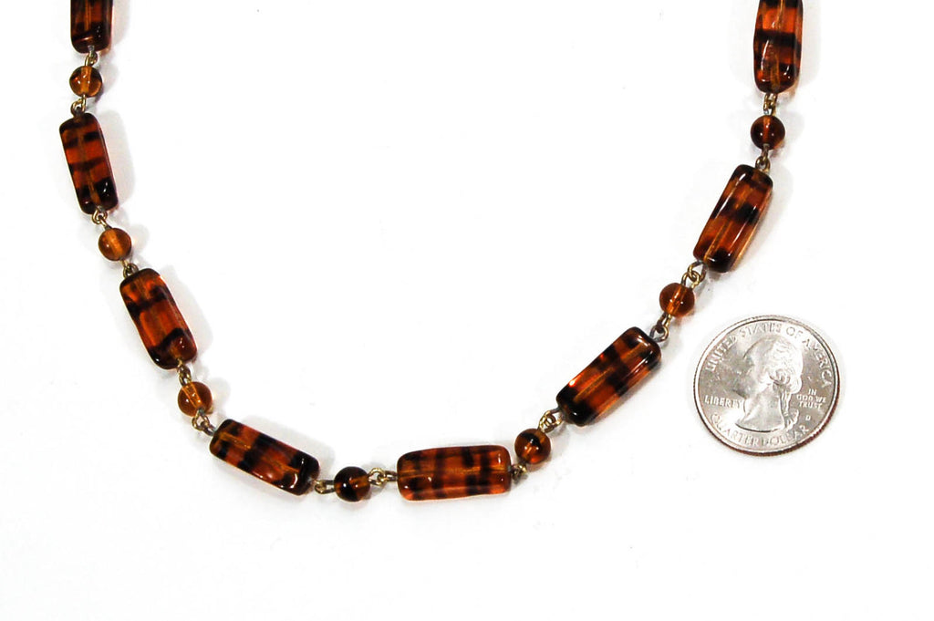 1940's Tiger Eye Glass Bead Necklace - Vintage Meet Modern  - 3