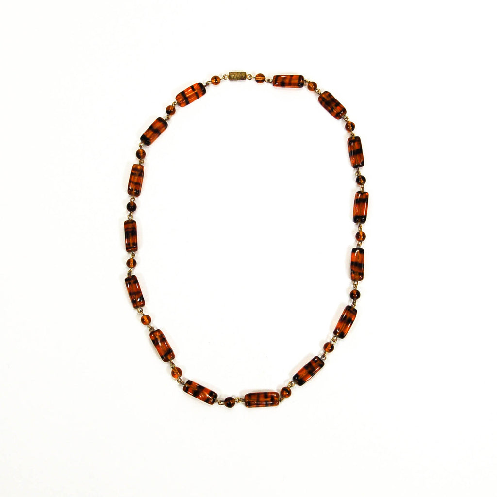 1940's Tiger Eye Glass Bead Necklace, Necklaces - Vintage Meet Modern