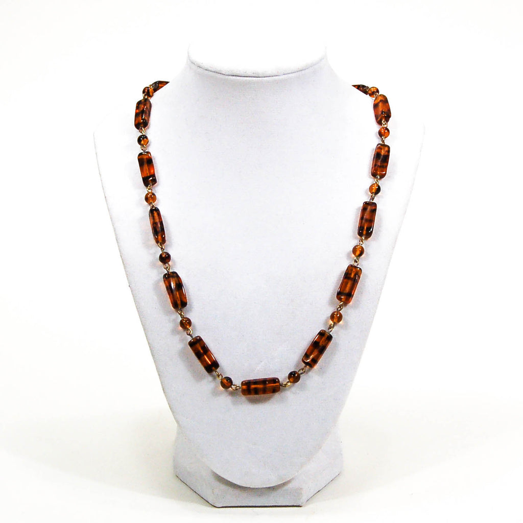 1940's Tiger Eye Glass Bead Necklace - Vintage Meet Modern  - 5