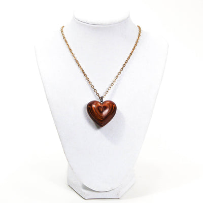 1970's Polished Zebra Wood Heart Necklace by 1970's - Vintage Meet Modern Vintage Jewelry - Chicago, Illinois - #oldhollywoodglamour #vintagemeetmodern #designervintage #jewelrybox #antiquejewelry #vintagejewelry