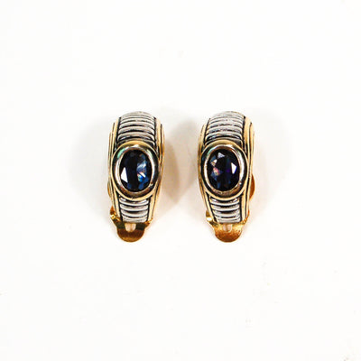 Classic Cable Design Silver and Gold Half Hoop Earrings with Iolite Crystal by Joseph Esposito by Joseph Esposito - Vintage Meet Modern Vintage Jewelry - Chicago, Illinois - #oldhollywoodglamour #vintagemeetmodern #designervintage #jewelrybox #antiquejewelry #vintagejewelry