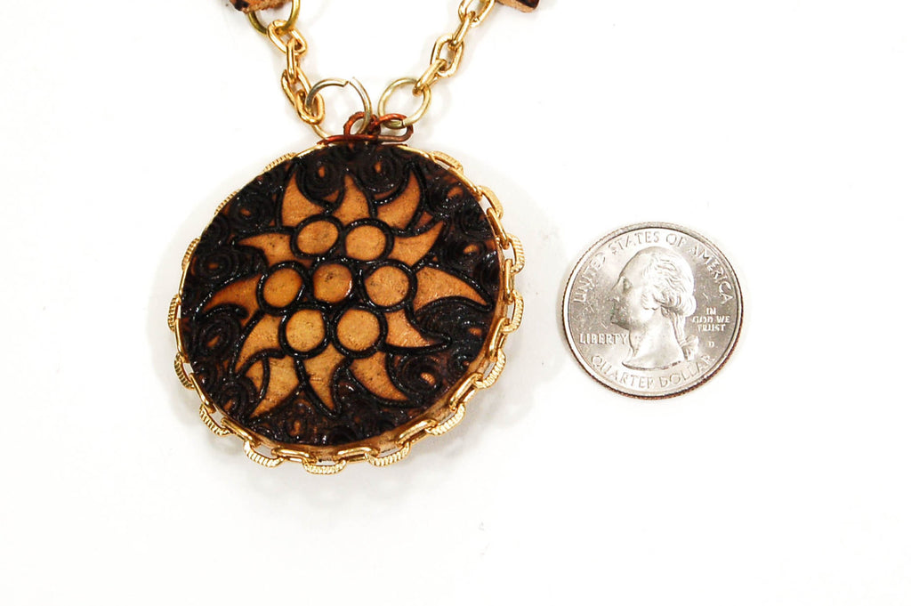 Pyrography Wood Medallion Necklace - Vintage Meet Modern  - 3