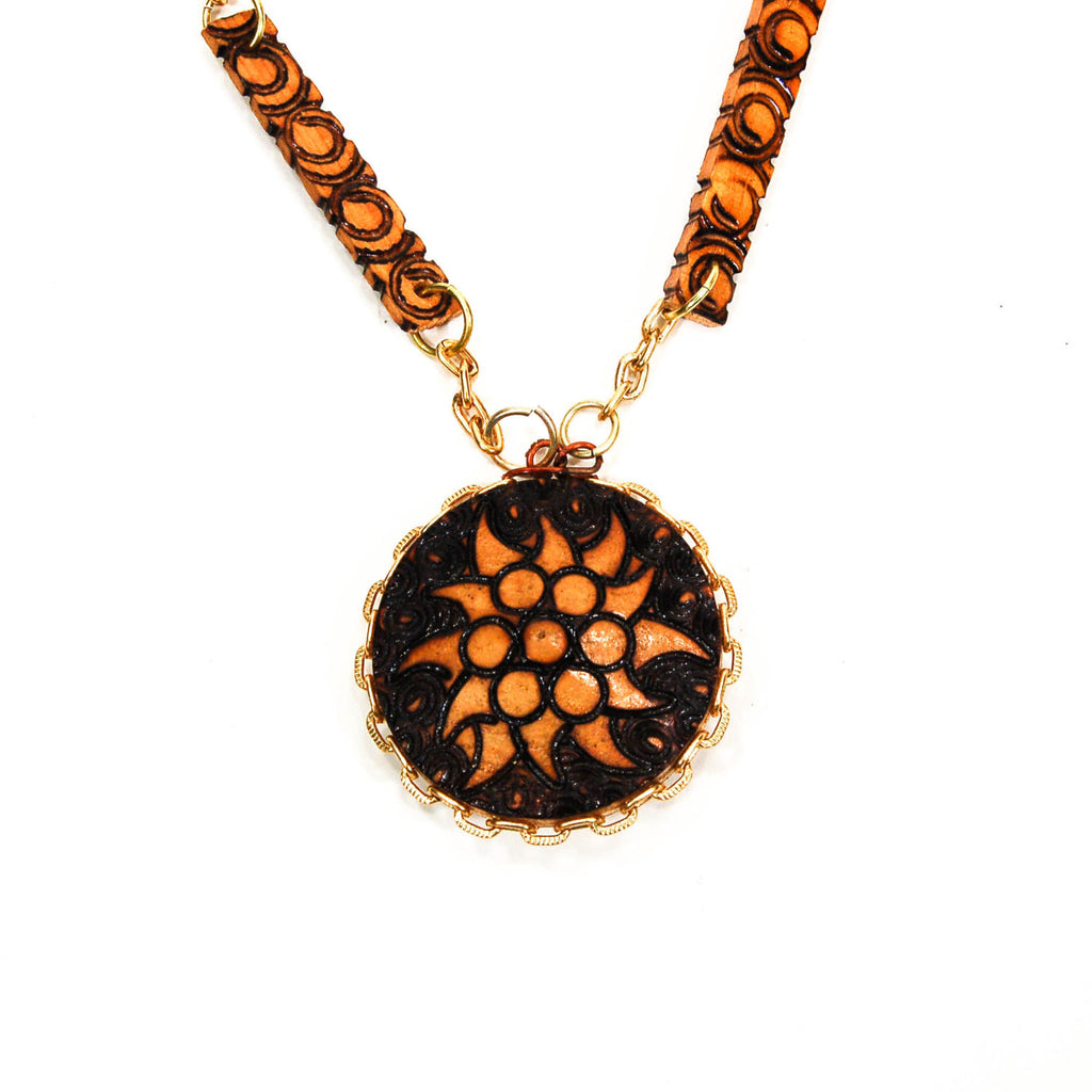 Pyrography Wood Medallion Necklace - Vintage Meet Modern  - 2