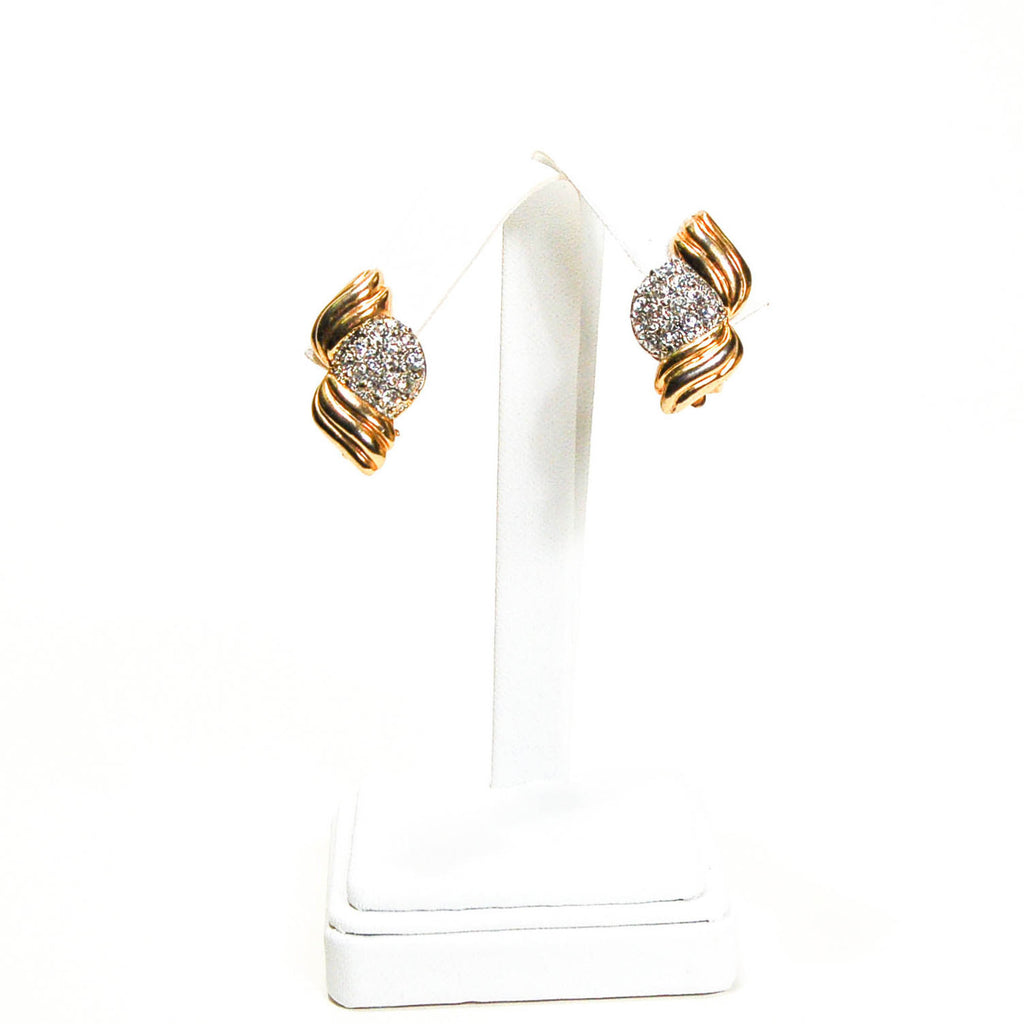 1980's Wave Pave Rhinestone Earrings, Earrings - Vintage Meet Modern