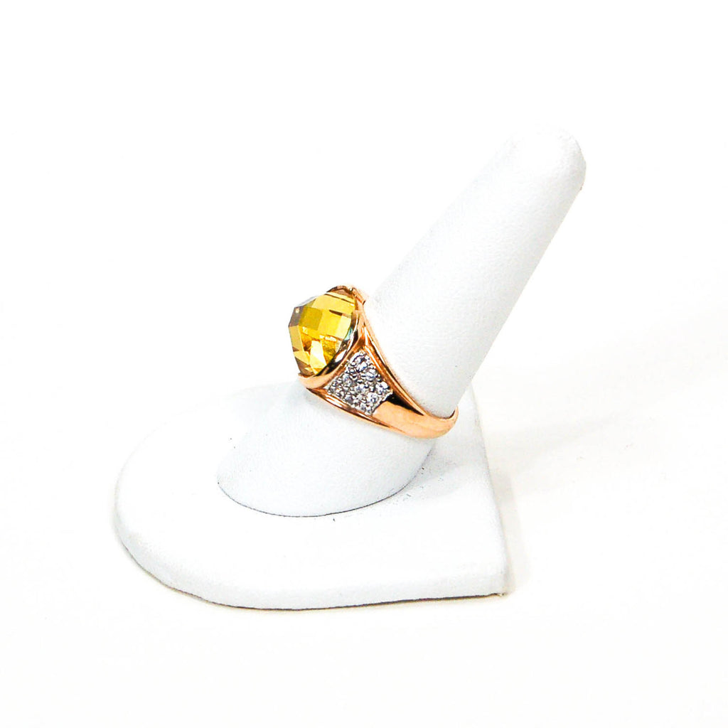 1980's 18kt Gold Vermeil Yellow Citrine and Pave Diamond Ring - Vintage Meet Modern  - 5