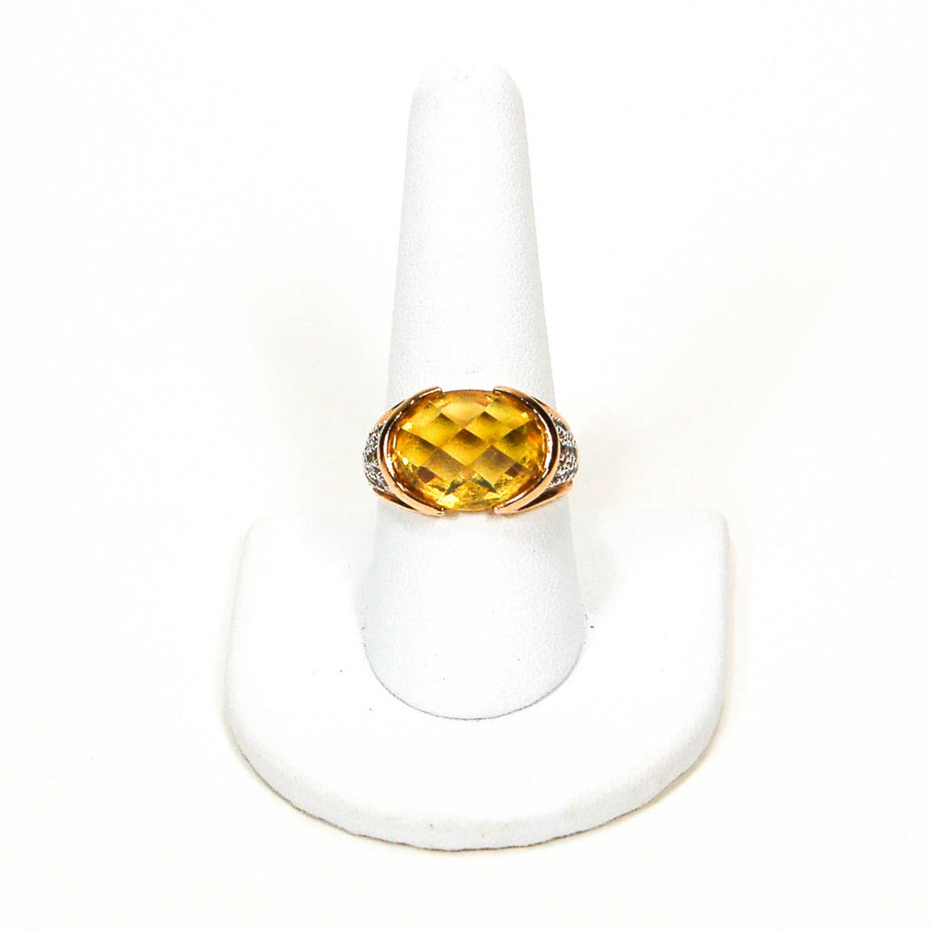 1980's 18kt Gold Vermeil Yellow Citrine and Pave Diamond Ring - Vintage Meet Modern  - 2