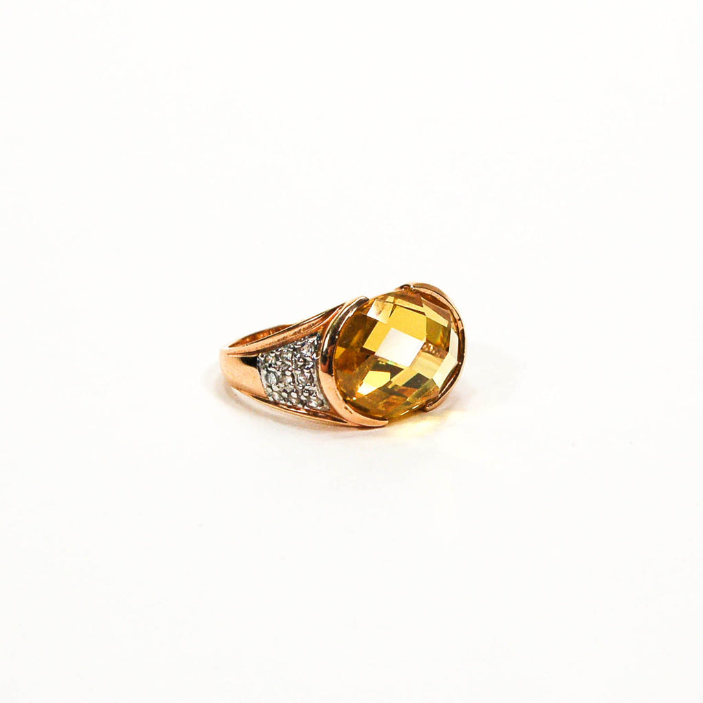 1980's 18kt Gold Vermeil Yellow Citrine and Pave Diamond Ring - Vintage Meet Modern  - 4