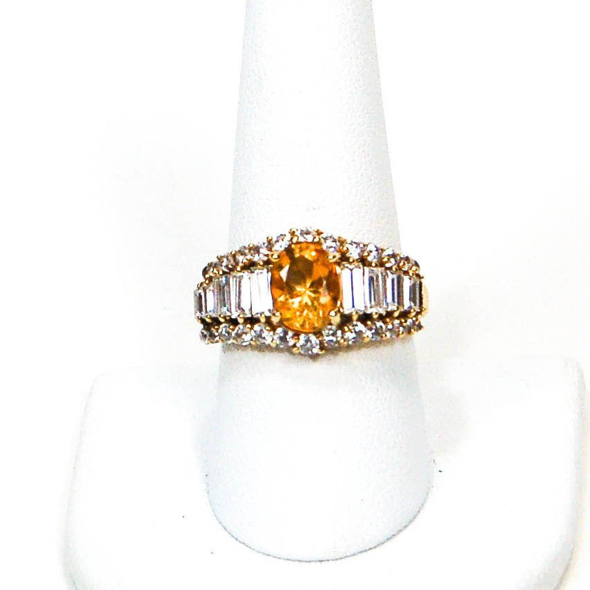 1980's Yellow Citrine and Diamonique CZ Ring, rings - Vintage Meet Modern