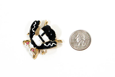 Black and White Bumble Bee Brooch by Weiss, Brooches - Vintage Meet Modern