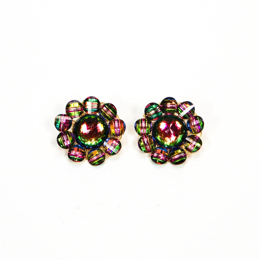 1980's Cluster Rainbow Rhinestone Earrings - Vintage Meet Modern  - 2
