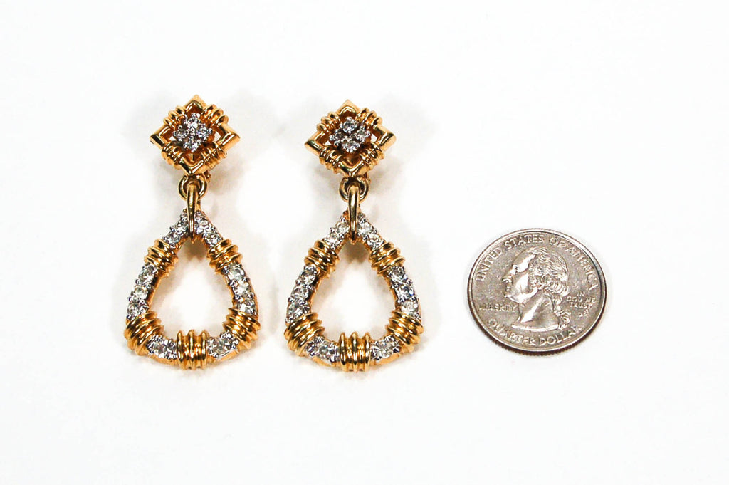 Door Knocker Style Rhinestone Earrings by Panetta - Vintage Meet Modern  - 2