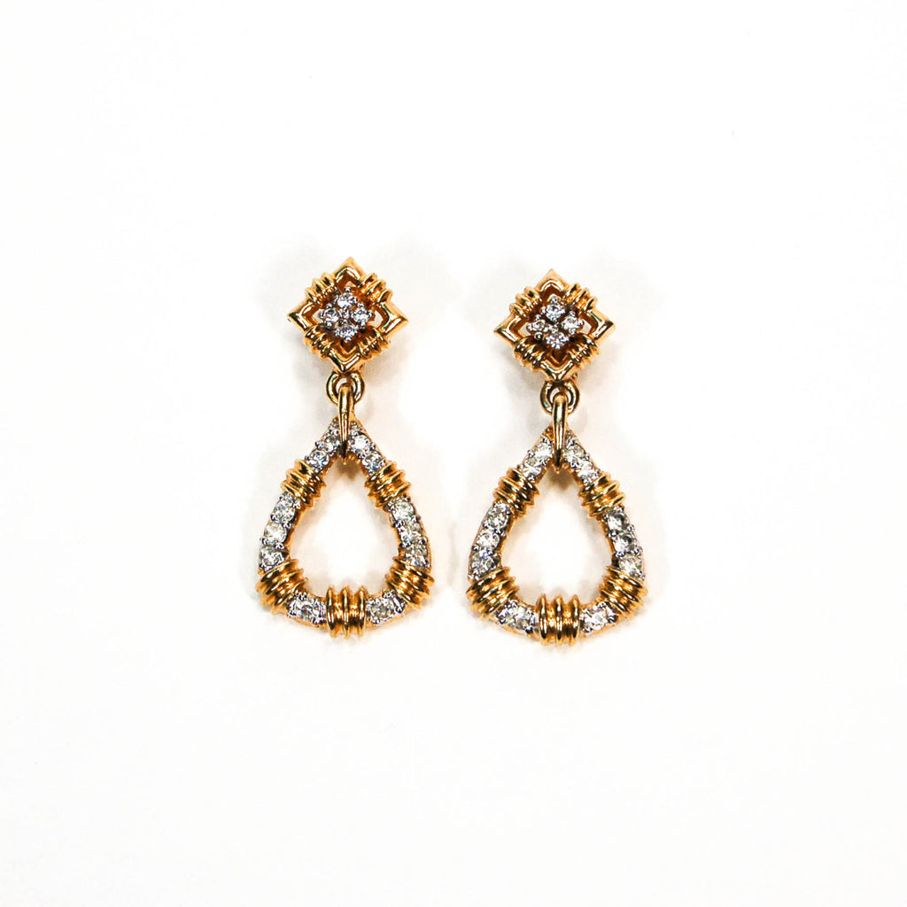 Door Knocker Style Rhinestone Earrings by Panetta - Vintage Meet Modern  - 1
