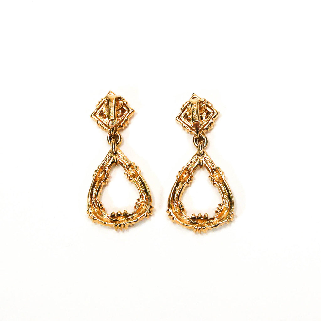Door Knocker Style Rhinestone Earrings by Panetta - Vintage Meet Modern  - 3