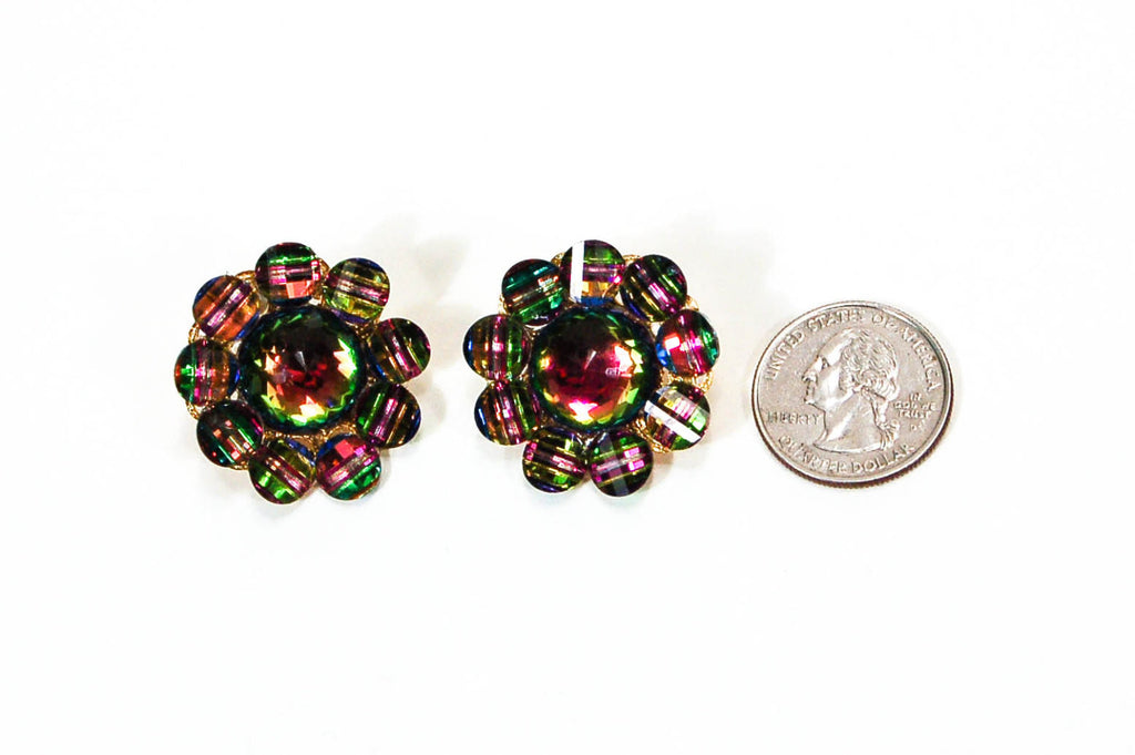 1980's Cluster Rainbow Rhinestone Earrings, Earrings - Vintage Meet Modern
