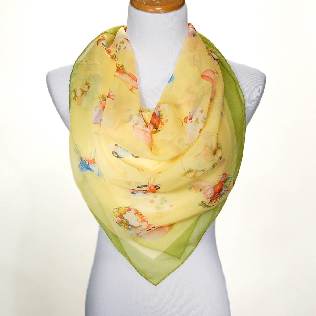 Yellow Floral Spring Silk Scarf by Mantero, Scarf - Vintage Meet Modern