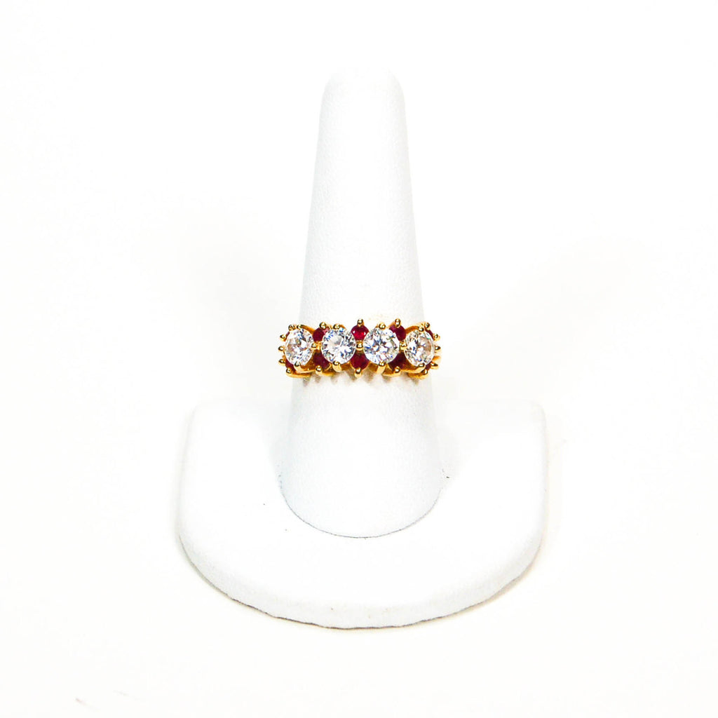 1980's Ruby and Cubic Zirconia Ring, rings - Vintage Meet Modern