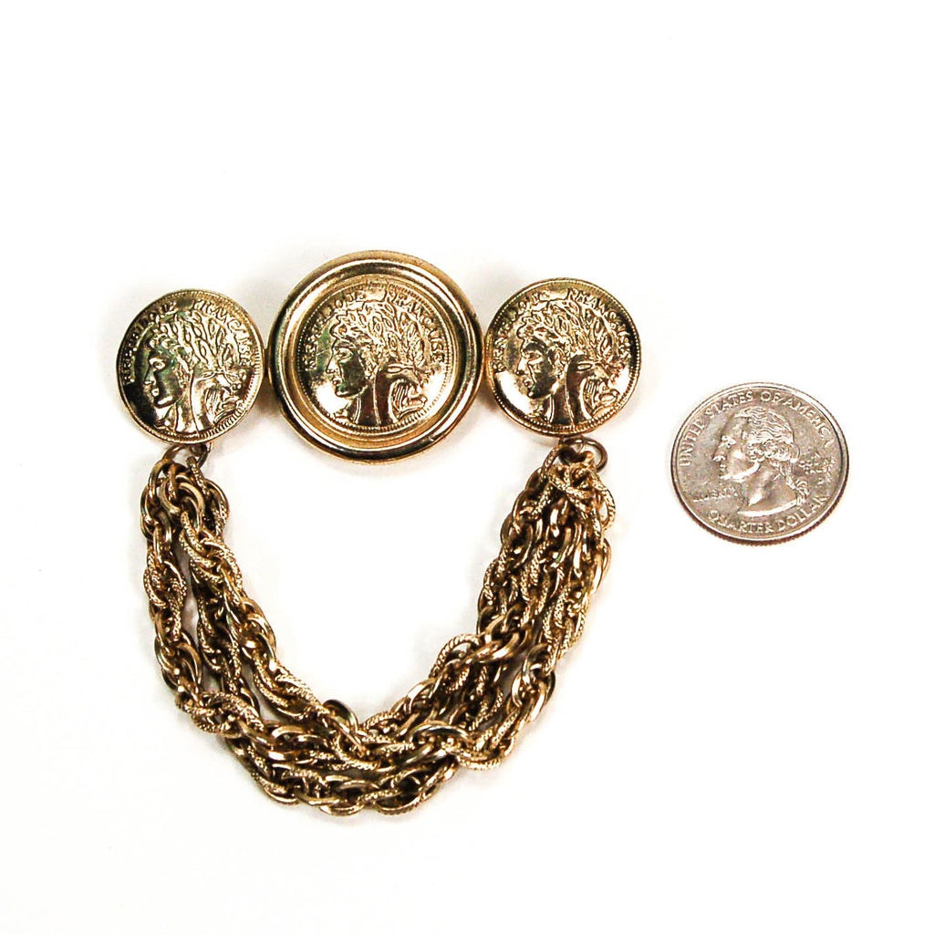 1980's French Coins with Chains Brooch, Brooches - Vintage Meet Modern