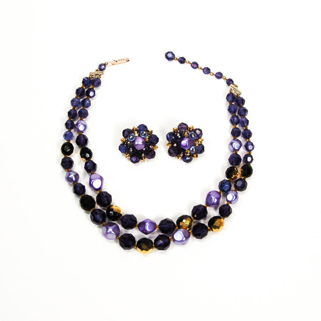 1950's Double Strand Purple Beaded Necklace and Earrings Set, Jewelry Sets - Vintage Meet Modern